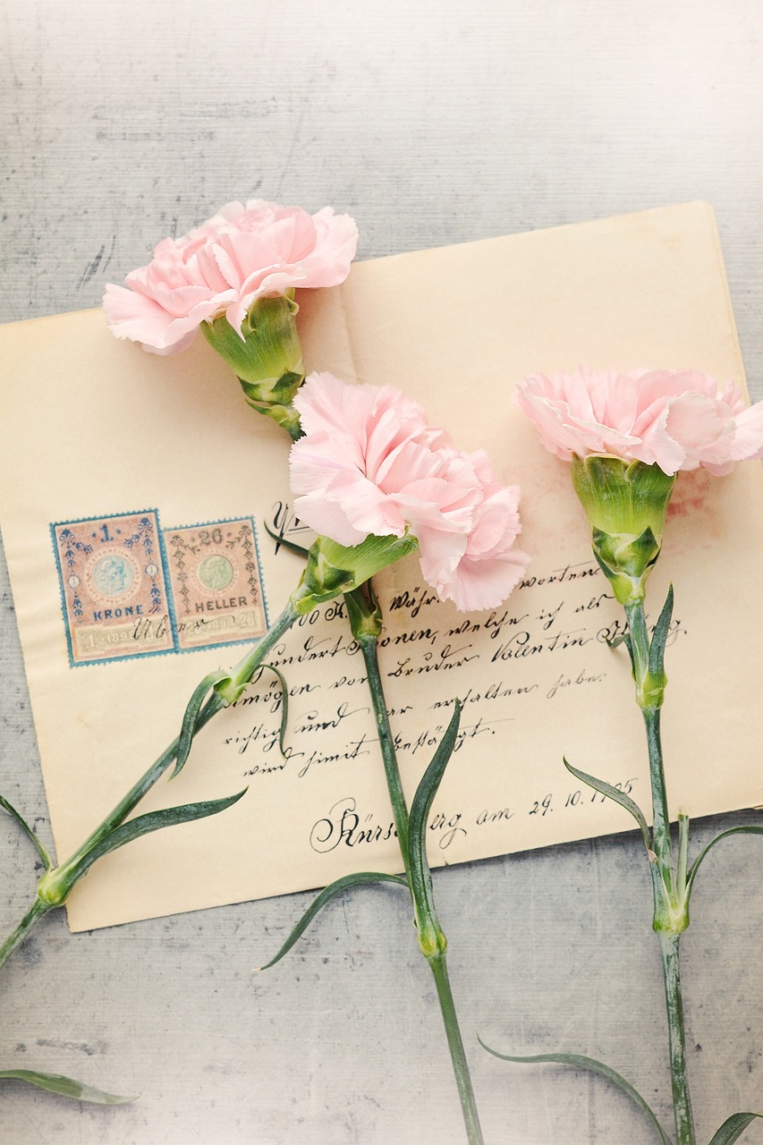 Lettre et fleures roses